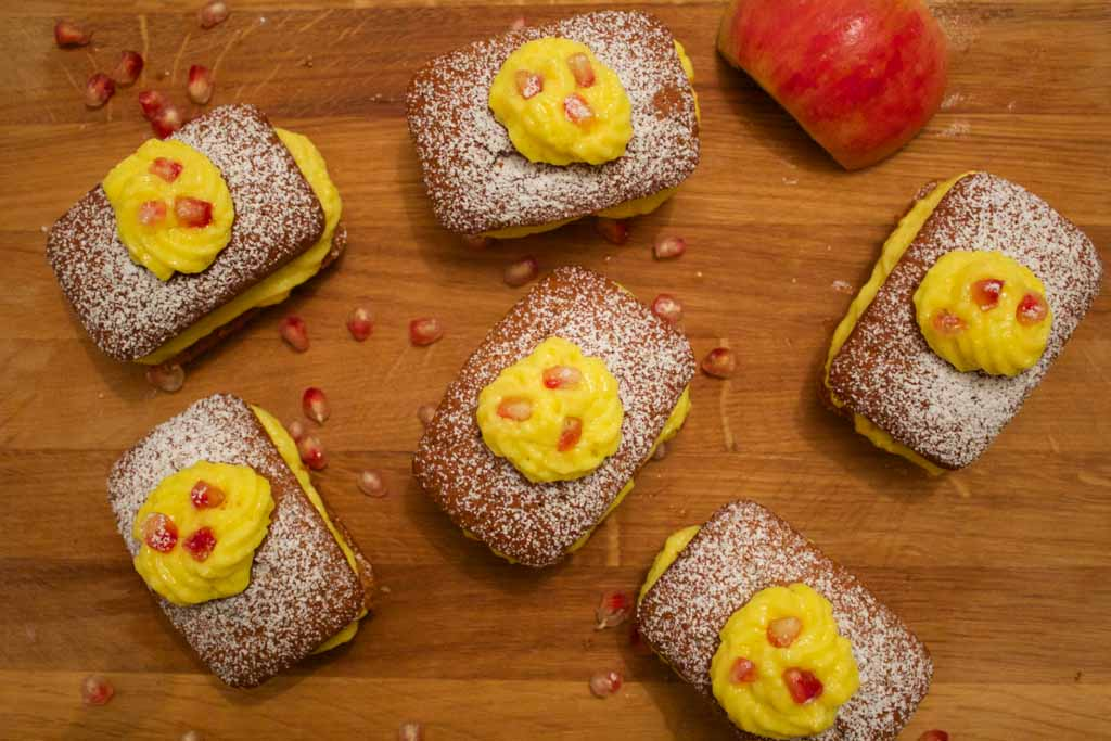 plumcake alla melagrana e crema pasticcera