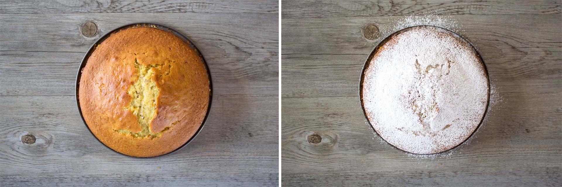 torta all'olio d'oliva, arance e mandorle zucchero a velo