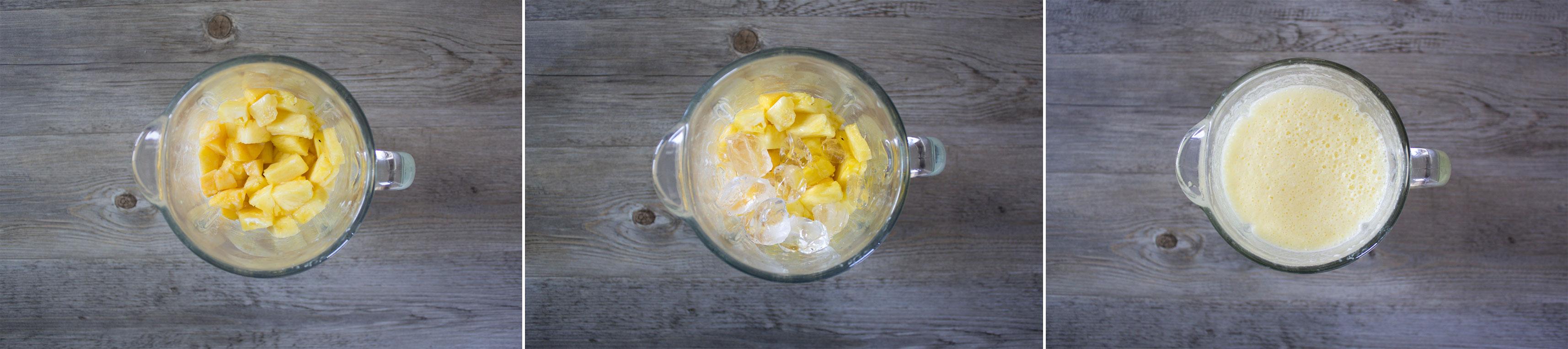 preparazione smoothie di pesche e ananas