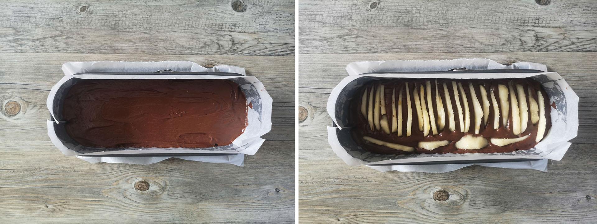 preparazione plumcake pere cioccolato